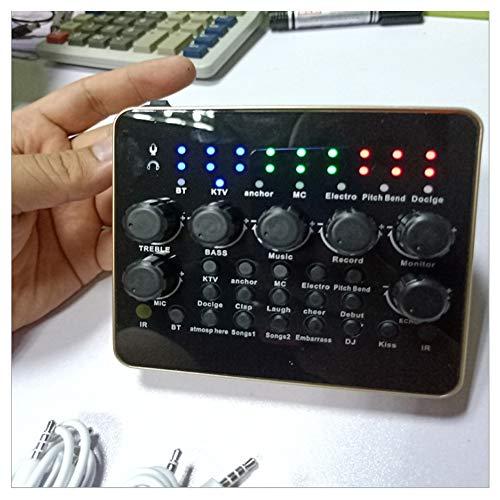 YPJKHM Micrófono de Tarjeta de Sonido en Vivo V10, una Variedad de interesantes Efectos de Sonido, Mezclador de Karaoke portátil, Adecuado para TV/PC y Amplificador Negro