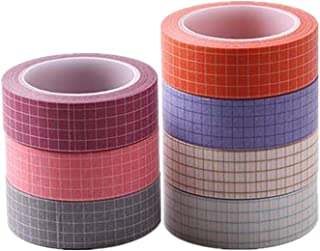 Colorful Grid Washi Tape Set of 7 Rolls 15mm Width Adhesive Masking Tape for DIY Scrapbooking, Journals, Planners, Gfit Wr...