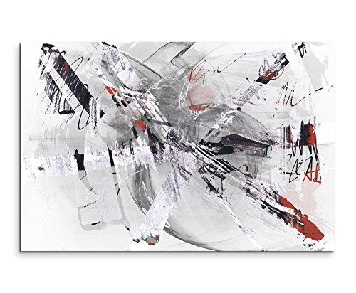 Paul Sinus Art 120x80cm Leinwandbild Leinwanddruck Kunstdruck Wandbild Grau Beige Rot Weiß Gemalt