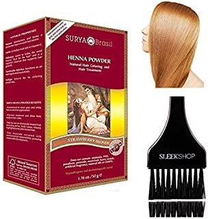 Surya Brasil All Natural HENNA Hair Color POWDER Dye, Coloring & Hair Treatment (with Brush) Brazil (STRAWBERRY BLONDE)
