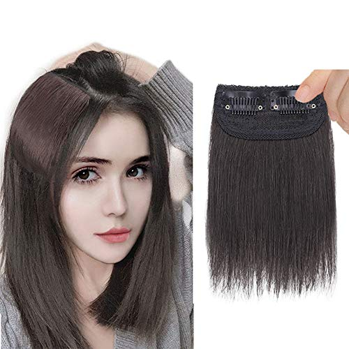 DeeThens 6 Inches Clips in Hairpieces Synthetic Short Straight Hair Hair Topper Invisible Hairpin Hair for Thinning Hair Adding Hair Volume Fluffy...