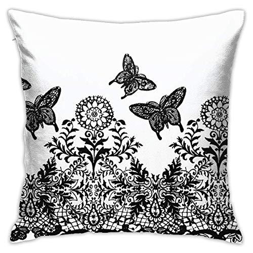 TUCBOA Cushion Case,Funda De Almohada De Mariposa De Arte Blanco Y Negro, Encantadoras Fundas De Almohada para Correr El Gimnasio,45x45cm