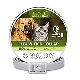 DEWEL 63,5cm Zeckenhalsband für Hunde Katze, Verstellbar Hund und Katze Flohhalsband, Wasserdicht Anti-Zecken und Flöhe