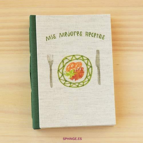 Sphinge - Cuaderno de recetas en blanco para escribir A6 | Recetario pequeño de cocina tapa dura | Índice y páginas en español | Encuadernación artesanal hecha a mano