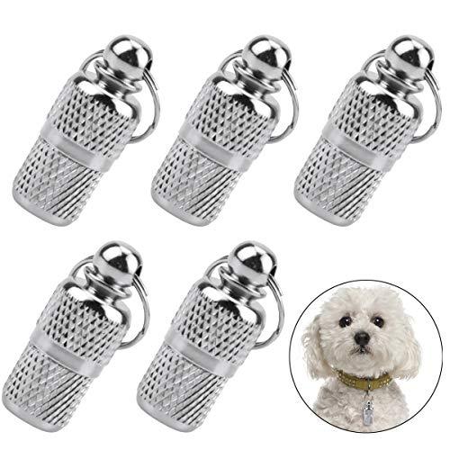 Fodlon 5 Etiquetas de Identificación de Mascotas Perro ID Tag Colgante Perro Personalizado con Nombre Gatos Accesorios Placas Identificativas Perros Anti-Perdido Etiqueta de DireccióN Incluida Llavero