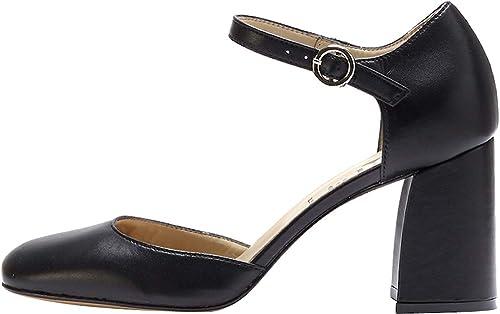 PoiLei Chaussures pour pour Femmes Pumps de Mary Janes Matilda Noir Escarpins Bloc Cuir Souple  shopping en ligne