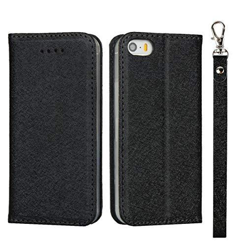 アップル iPhone 5 5s SE 第1世代 2016版 4.0インチ ケース 手帳型 カバー case Apple アイフォン 5 5s se 手帳ケース Zouzt PUレザー製 ストラップ付き ベルトなし スタンド カード収納 マグネット 耐衝撃 滑り止め 5色 ブラック