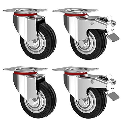 Nirox 4er Set Transportrollen im Set, 75mm - Schwerlastrollen mit Bremse - Lenkrollen 360 Grad rundum drehbar - Industrierollen Vollgummi - 95mm Gesamthöhe - Räder bis 200kg