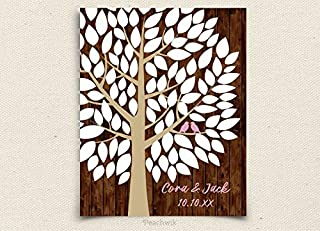 234Tiffany Printable Guest Book Wedding Tree Guest Book Wishwik Tree Peachwik Personalized Printable 100 signatures Wedding Guestbook Tree