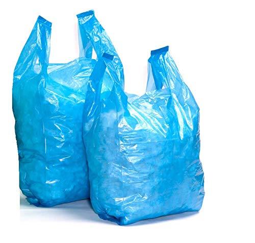 """100 x NUOVA FORTE DI MEDIE DIMENSIONI Blu in Plastica Vest Carrier Bags 11/""""x 17/""""x 21/"""" OFFERTA"""