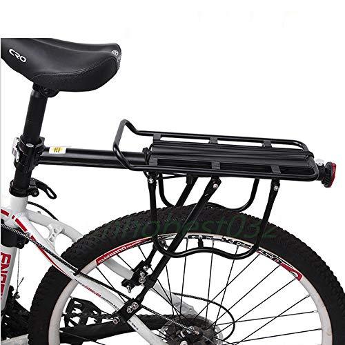 Malayas Portaequipajes Bicicleta Trasero Portabultos Bicicleta de Aleación de Aluminio Soporte Trasero de Bicicleta Ajustable con Reflector Rojo Carga Máx 50kg