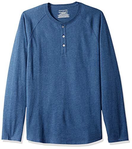 Amazon Essentials - Camiseta de manga larga con corte recto y cuello panadero para hombre, Azul (Blue Heather), US M (EU M)