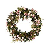 WOVELOT Corona de Flores de Navidad Guirnalda Rosado con Elegante Mejor para Casa Pared Puerta y Ventana Decoración Decoración de Boda