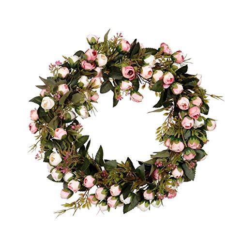 SODIAL Corona de Flores de Navidad Guirnalda Rosado con Elegante Mejor para Casa Pared Puerta y Ventana Decoración Decoración de Boda