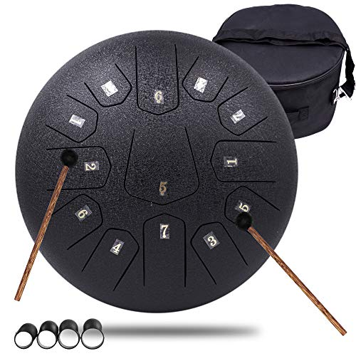 13 Notes 30cm Stahl Zunge Drum – Stimmtes Percussion Instrument – Handpan Drum Sets mit Tasche, Musikbuch, Mallets, Fingerpicks