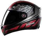 Steelbird SBA-1 Storm Glossy Black with Red with Smoke Visor- Medium