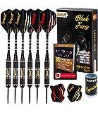 IgnatGames Steel Tip Darts Set - 20g Professional Darts with Aluminum Shafts, Rubber O'Rings, Standard and Slim Flights + Dart Sharpener + Innovative Case + Darts Guide