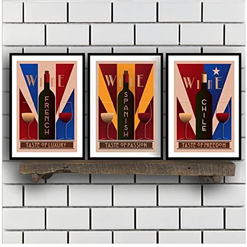 djnukd Vintage Wine Wall Art Canvas Posters Prints Francés Español Chile Pintura De Vino Cuadro De Pared Restaurante Y Bares Decoración Retro 40X60Cmx3 Sin Marco