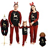 Borlai Pigiama Natale Famiglia Manica Lunga Top e Pantaloni Pigiameria Autunno e Inverno Pajamas Set, Nero aggiornato, Donne / S