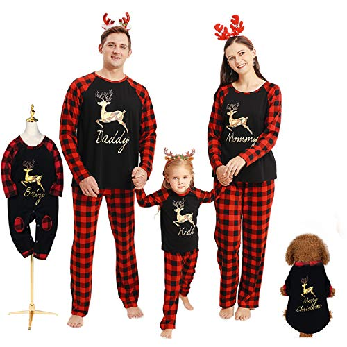 Borlai Familien-Schlafanzug mit Weihnachtsmotiv, passende Nachtwäsche für Damen Herren Kinder und Kleinkind, Schwarz Aktualisierung, Kleinkind / 0-6 Monate