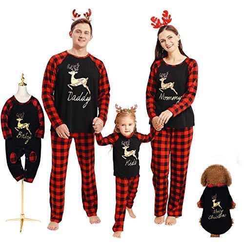 Borlai Pijamas Navidad para Familias Invierno Otoño Top+Pantalones Ropa de Dormir para Mamá Papá Niños Bebé Conjuntos Navideños, Negro Mejorado, Hombres/L