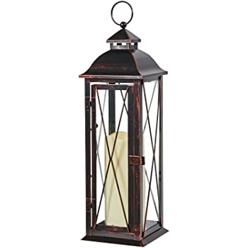 Smart Living 84036-LC Smart Design STI84036LC Siena Metal Lantern with LED Candle, 16-Inch T, Tall, Antique Bronze