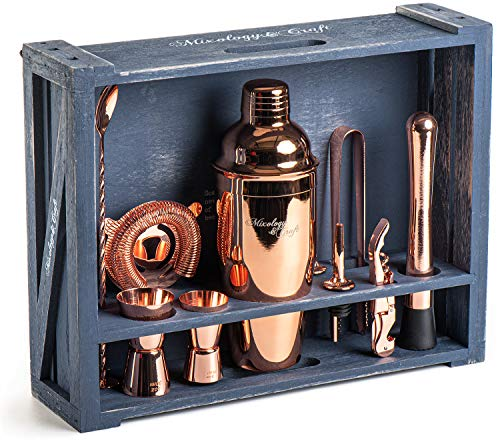 Mixology Bartender Kit: 11-Piece Copper Bar Set Cocktail Shaker Set with Rustic Wood Stand | Perfect Home Bartending Kit with Rose Gold Bar Tools and Martini Shaker for Foolproof Drink Mixing