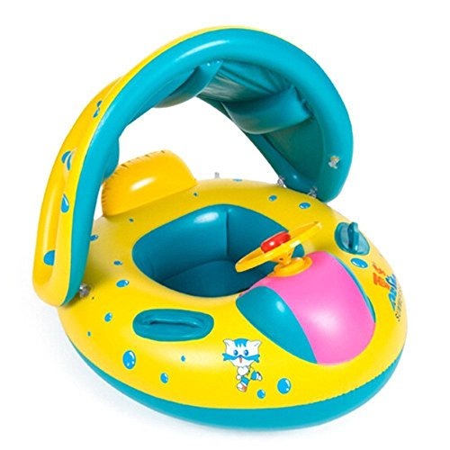 Topwon Babies Kids Sunshade Swimming Inflatable Boat Swimming Pool For Ages 1-3 + Wheel Horn