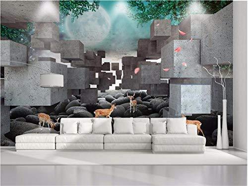 QFAZO Papel tapiz personalizado 3D foto mural estéreo caja sika ciervos en relieve TV fondo sala restaurante 3d papel tapiz, 200x140 cm (78,7 por 55,1 pulgadas)