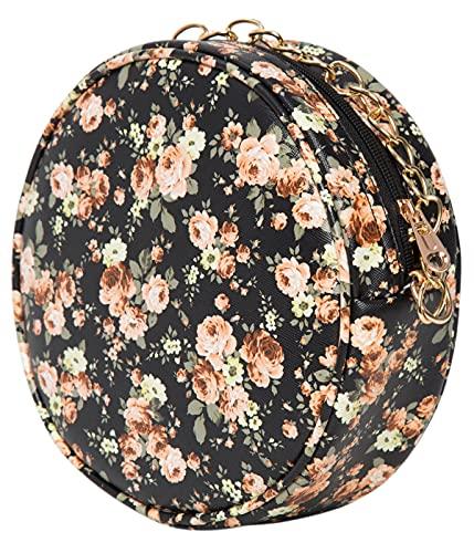 ADISA Women Girls Floral Print Round Sling Bag (SL5074-BLA_Black)