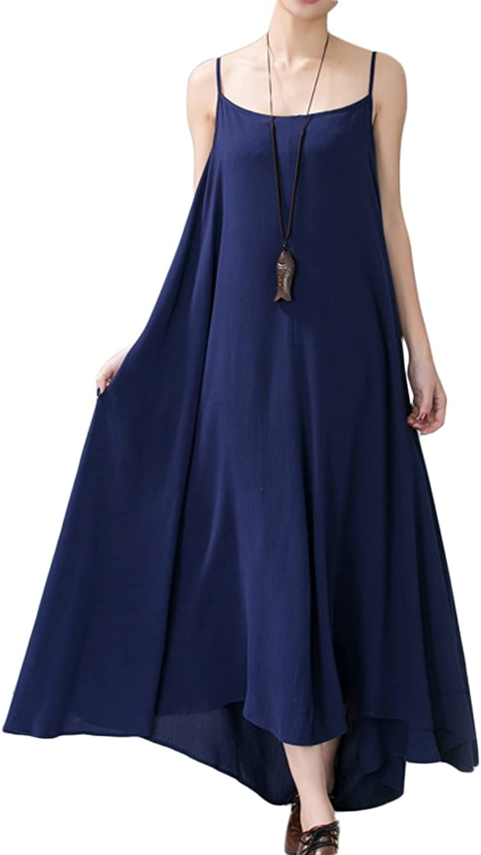 Casual Strap Sleeveless Linen Women Maxi Sundress