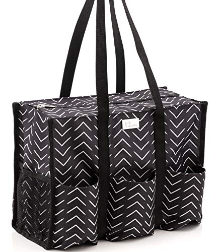 Pursetti Zip-Top Organizing Utility Tote Bag with Multiple Exterior & Interior Pockets for Working Women, Nurses, Teachers and Soccer Moms (Hatch Mark)