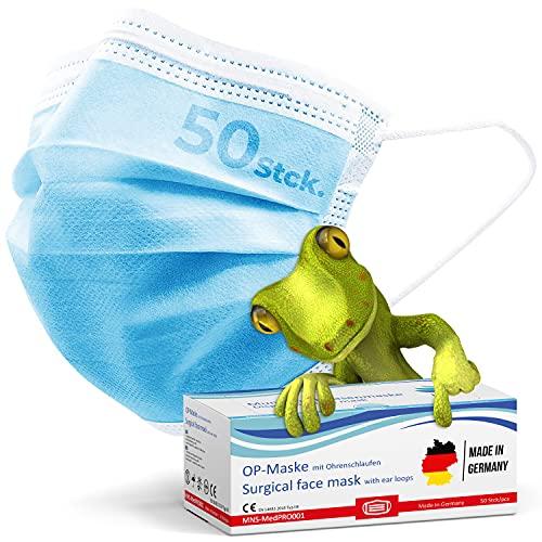 kela, 50 Stck. medizinische Mund und Nasenschutzmaske, OP-Maske, chirurgische Einweg-Maske, Made in Germany, CE zertifiziert, DIN EN 14683 Typ IIR, BFE 99,88%, 3-lagig, blau, ab Lager lieferbar