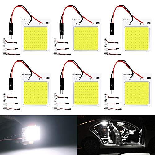 DEFVNSY Pack de 6 Luces LED de 300 lúmenes COB 48-SMD 12V DC para iluminación Interior del Coche, Panel de iluminación de cúpula, lámpara de Techo con Bombillas T10, BA9S, Adaptador Festoon