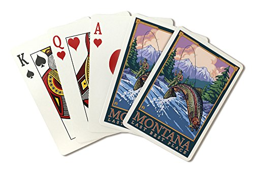 Montana, Last Best Place - Angler Fly Fishing Scene (Leaping Trout) (Playing Card Deck - 52 Card Poker Size with Jokers)