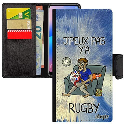 utaupia Schutzhülle für Samsung A8 2018, Leder, Brieftasche, Kartenfach, Aufsteller von Karten 'J'peux Pas y'a Rugby, Original-Schutzhülle, Blau