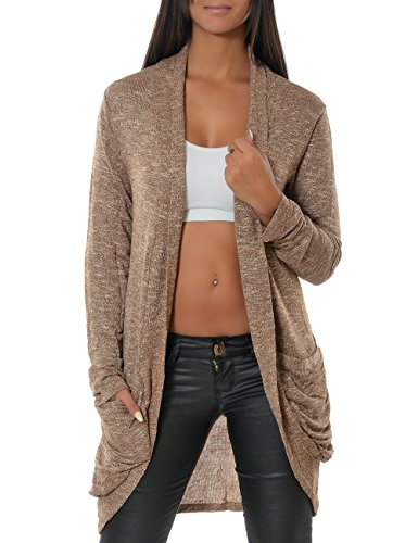 Damen Cardigan Strickjacke Pullover 13367 One Size Khaki