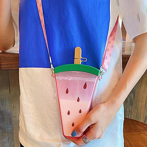 Zuoye 320ml botellas de agua plásticas 4 colores lindo sandía helado botella de agua con paja anti-caída portátil paletas