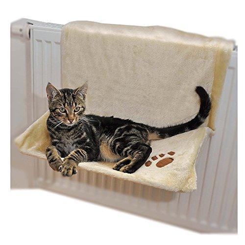 Ducomi Warmy - Bett mit Heizung - 46 x 32 cm - Hängematte für Heizkörper für Katzen und Hunde bis 5 kg - Bett zum Aufhängen des Kühlers mit waschbarer, weicher warmer Decke (Beige)