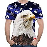 MIRRAY Mode pour des Hommes Aigle 3D Impression Tees Manche T-Shirt Chemisier Hauts Multicolore L