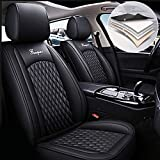 Maidao Car Seat Covers for Mitsubishi Lancer/Lancer Evolution/Lancer Sportback Durable Comfort Leatherette Seat Cushions (Airbag Compatible) Front and Rear Seats Covers Black