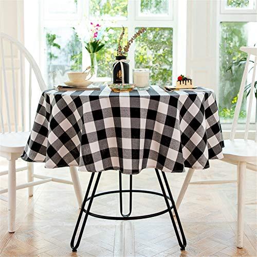 Mantel Redondo a Cuadros en Blanco y Negro de 140 cm de diámetro decoración del hogar Protege la Mesa de Centro de Mesa de Comedor de Escritorio