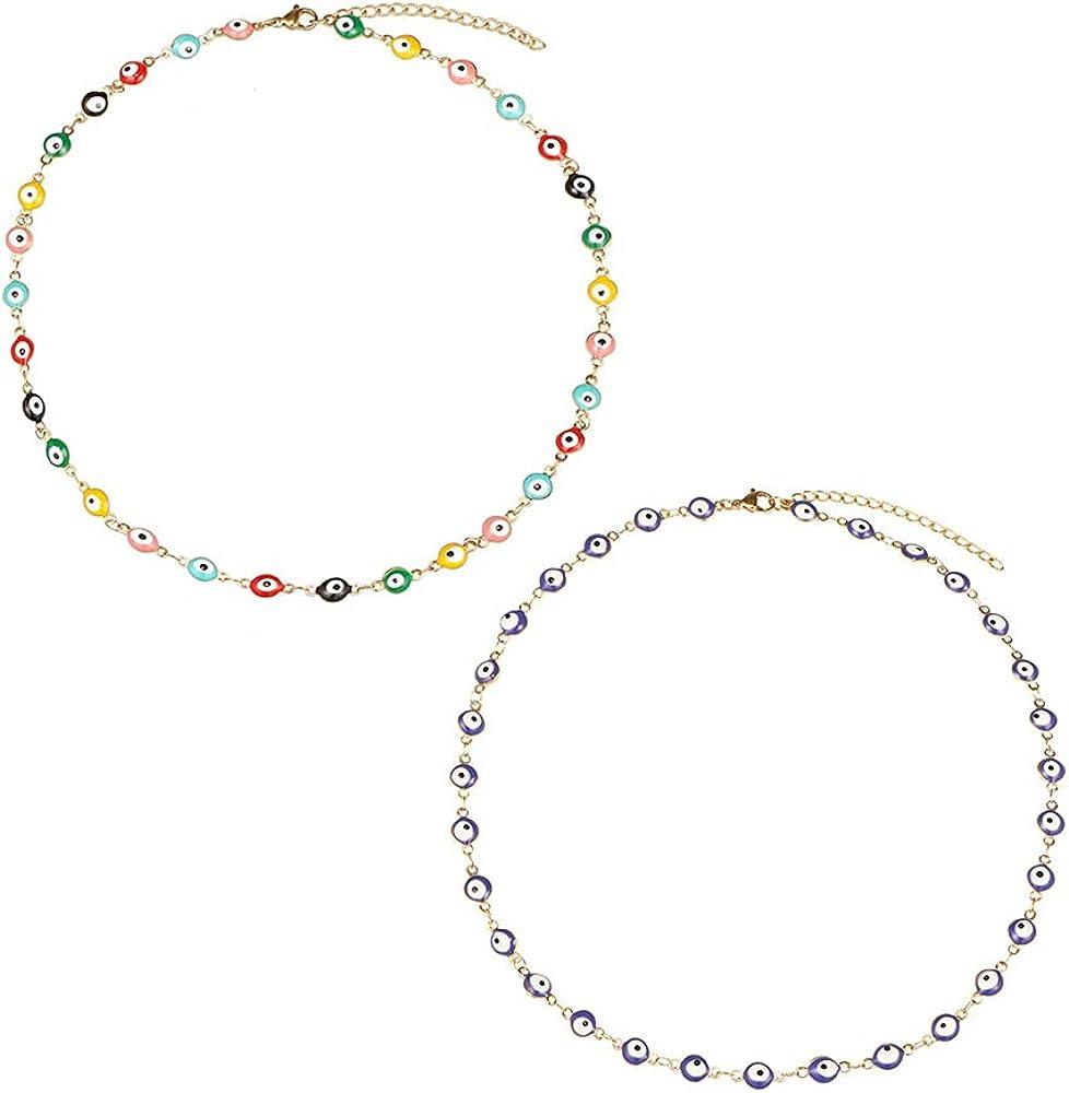 KDIZI 2 Pcs Evil Eye Necklace,18K Gold Plated Stainless Steel Evil Eye Choker for Women Girls 12 + 3 Inches