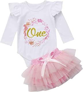 Newborn Baby Girls 1st Birthday Outfits Set Long Sleeve Floral Romper + Tulle Tutu Skirt Dress