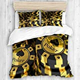 KIMDFACE duvet cover set,Poker Tournament Decorations Gold Black Poker Chips Gambling Club Currency Stack Wager Decorative,New Various Patterns Custom 3 Piece Set pillows 2 pack,Single size-135*200cm