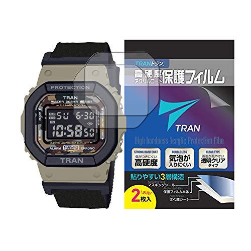 TRAN(R) トラン CASIO 腕時計 G-SHOCK ジーショック 対応 液晶保護フィルム 2枚セット 高硬度アクリルコート 気泡が入りにくい 透明クリアタイプ for CASIO G-SHOCK DW-5610SUS-5JR他
