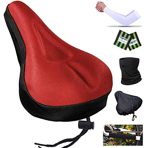 Karetto Bike Gel Seat Cover Excercise Bicycle Saddle Cover with Drawstring, Rain and Dust Resistant,Reflective Band Bandanas ,Soft Cover for Mountain, Road and Cruiser Bikes