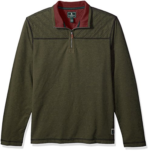 G.H. Bass & Co. Men's Quilted 1/2 Zip Fleece, Forest Night Heather, X-Large
