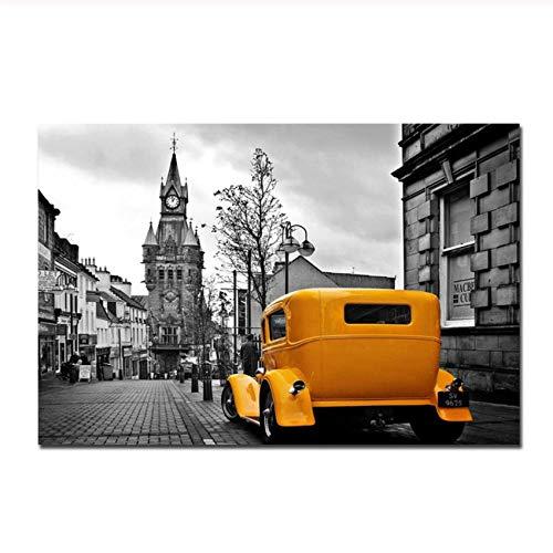 DZXGY Hd Print 1 Pc Vintage Poster Black White Yellow Car Wall Art, Retro London Paris Living Room Decoration Masion Kitchen Decor/Unframed/60X90Cm