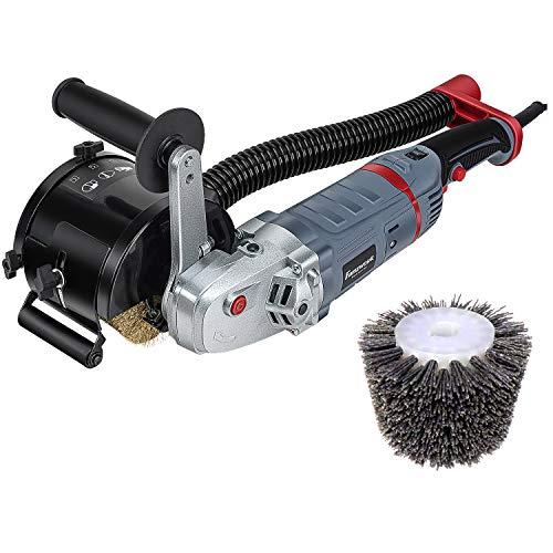 FANZTOOL 1500 Watt Satiniermaschine Schleifmaschine Bürstenschleifgerät zur Renovierung von Oberflächen aller Art, mit Staubsaugung-Anschluss, Drehzahlregelung, Messing & Nylon Bürste
